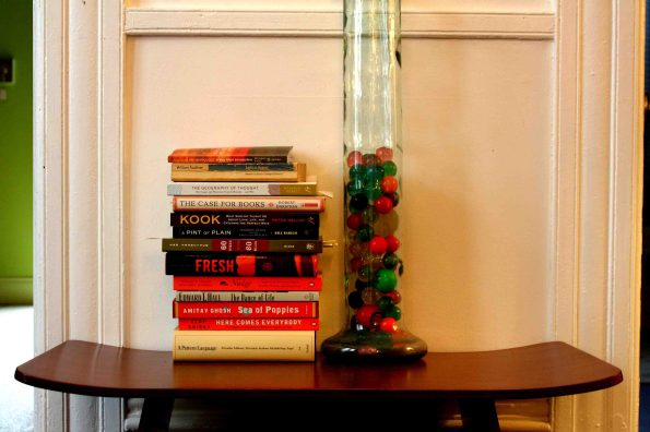 books and bouncy balls